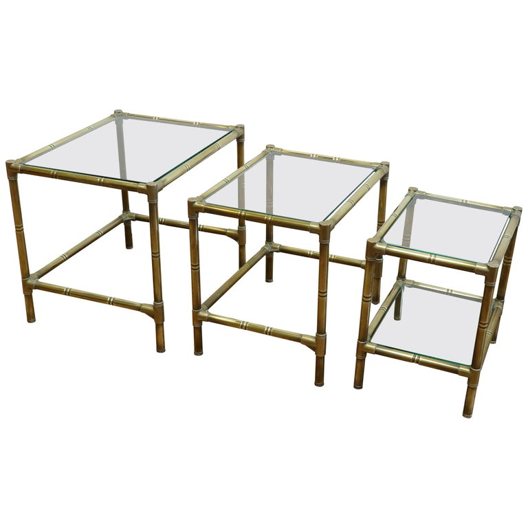 French Brass and Glass Nesting Tables For Sale