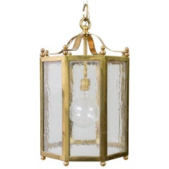 French Brass and Glass Octagonal Lantern
