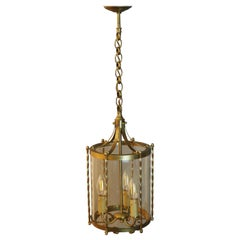French Brass and Glass Three-Light Pendant, Cylindrical Lantern, circa 1960s
