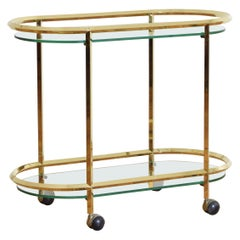 French Brass and Glass Two-Tier Disco Rectangular Bar Cart, Mid-20th Century