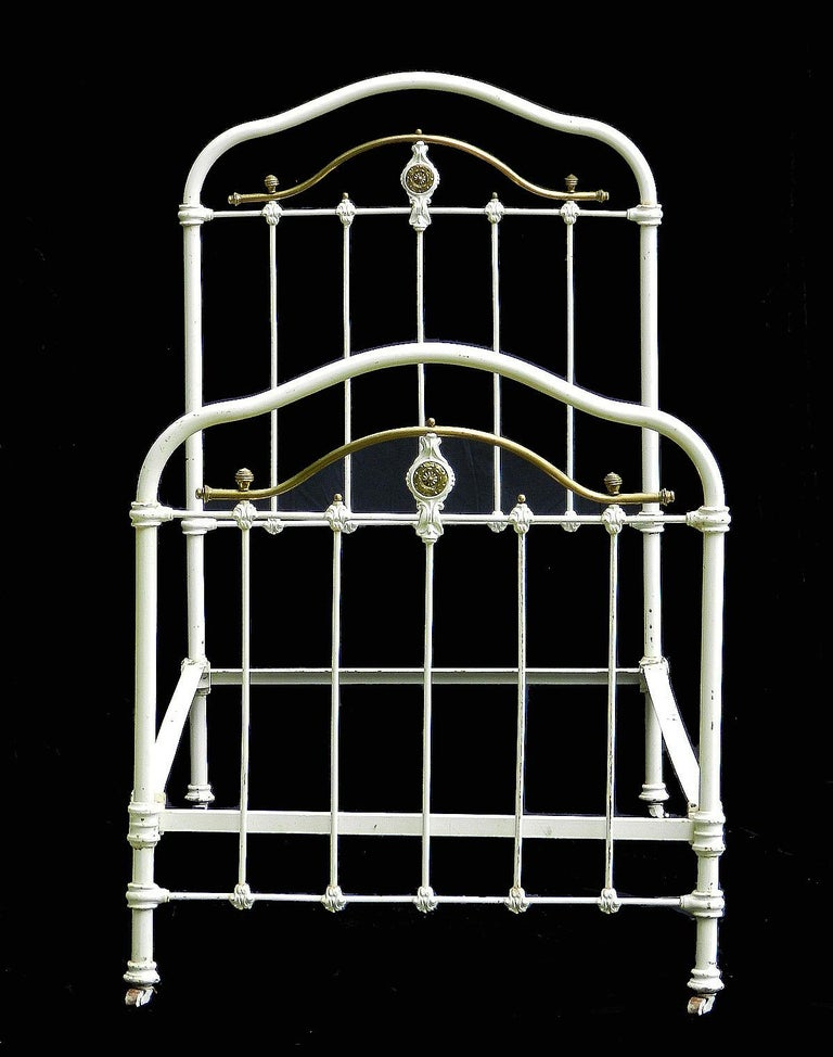 Late Victorian French Brass and Iron Bed Single with Wood Slat Base Original Paint, circa 1890 For Sale