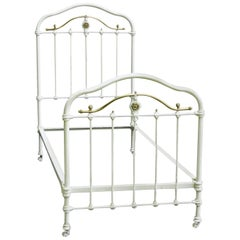 French Brass and Iron Bed Single with Wood Slat Base Original Paint, circa 1890