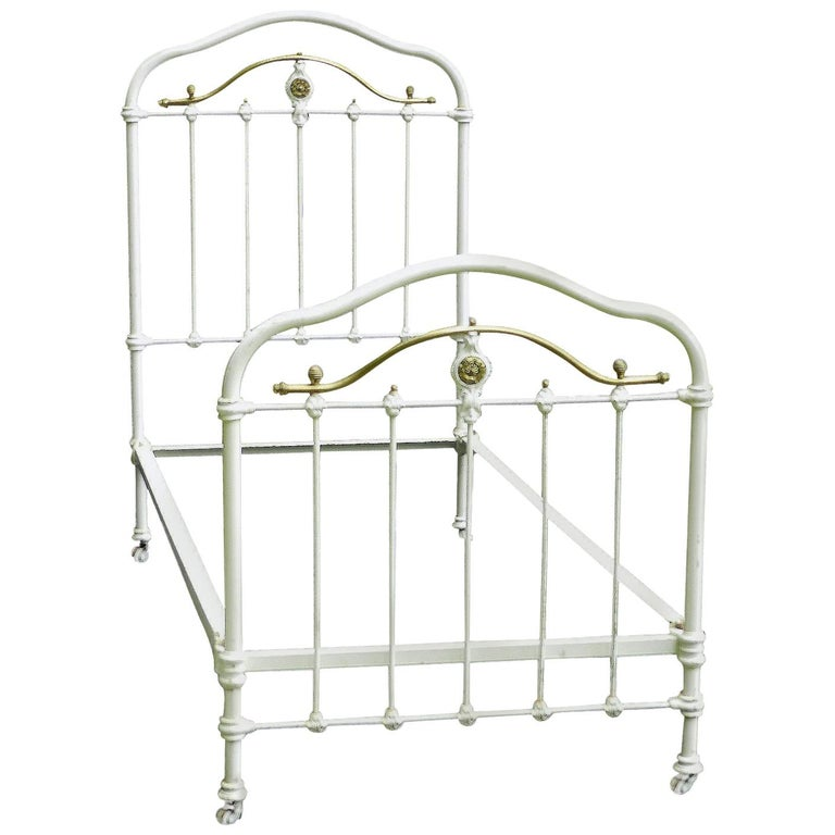 French Brass and Iron Bed Single with Wood Slat Base Original Paint, circa 1890 For Sale