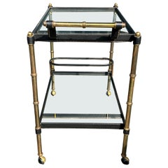 French Brass and Leather Bar Cart