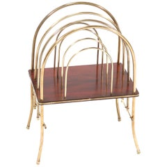 French Brass and Mahogany Art Nouveau Magazine Rack, 1900s
