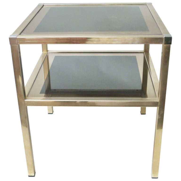 French Brass and Mirror Side Table by Charly Freres For Sale