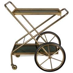 French Brass and Smoke Glass Folding Bar Cart