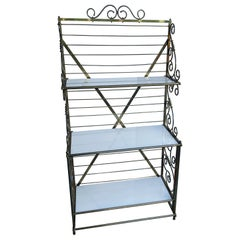 French Brass Bakers Rack with 3 White Milk Glass Shelves