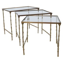 French Brass Bamboo Midcentury Nest of Tables in the Manner of Bagues
