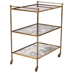 French Brass Bar Cart with Antique Mirrored Glass, circa 1960