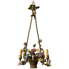 French Brass Basket Chandelier with Porcelain Flowers