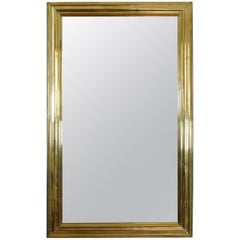 French Brass Bistro Mirror, Turn of 20th Century