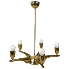French Brass Chandelier from 1950s