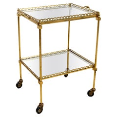 French Brass Cocktail Cart with Mirrored Glass Top, 1960s