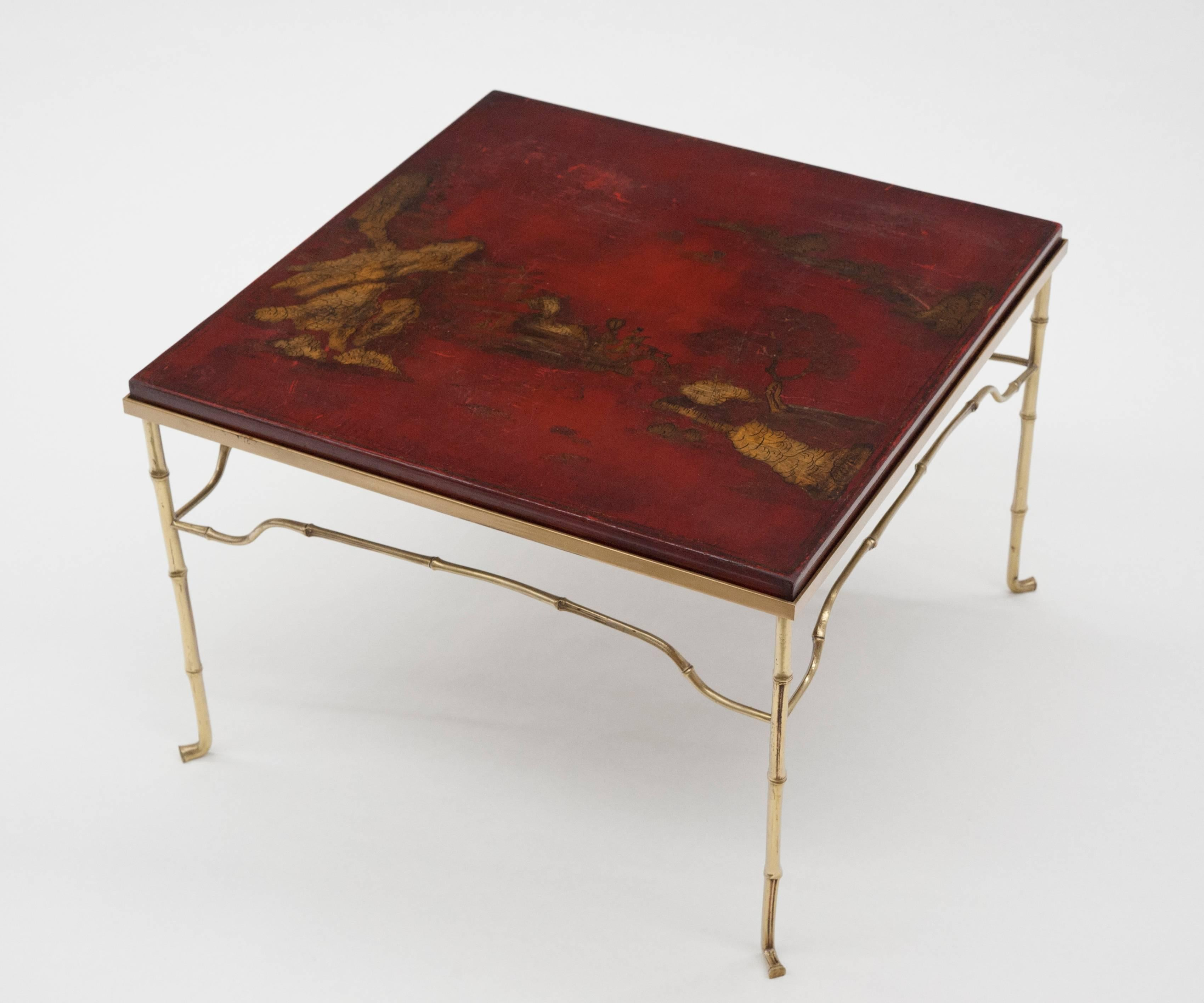 Delicieux French Brass Cocktail Table With Antique Asian Red Lacquerd Top For Sale 6
