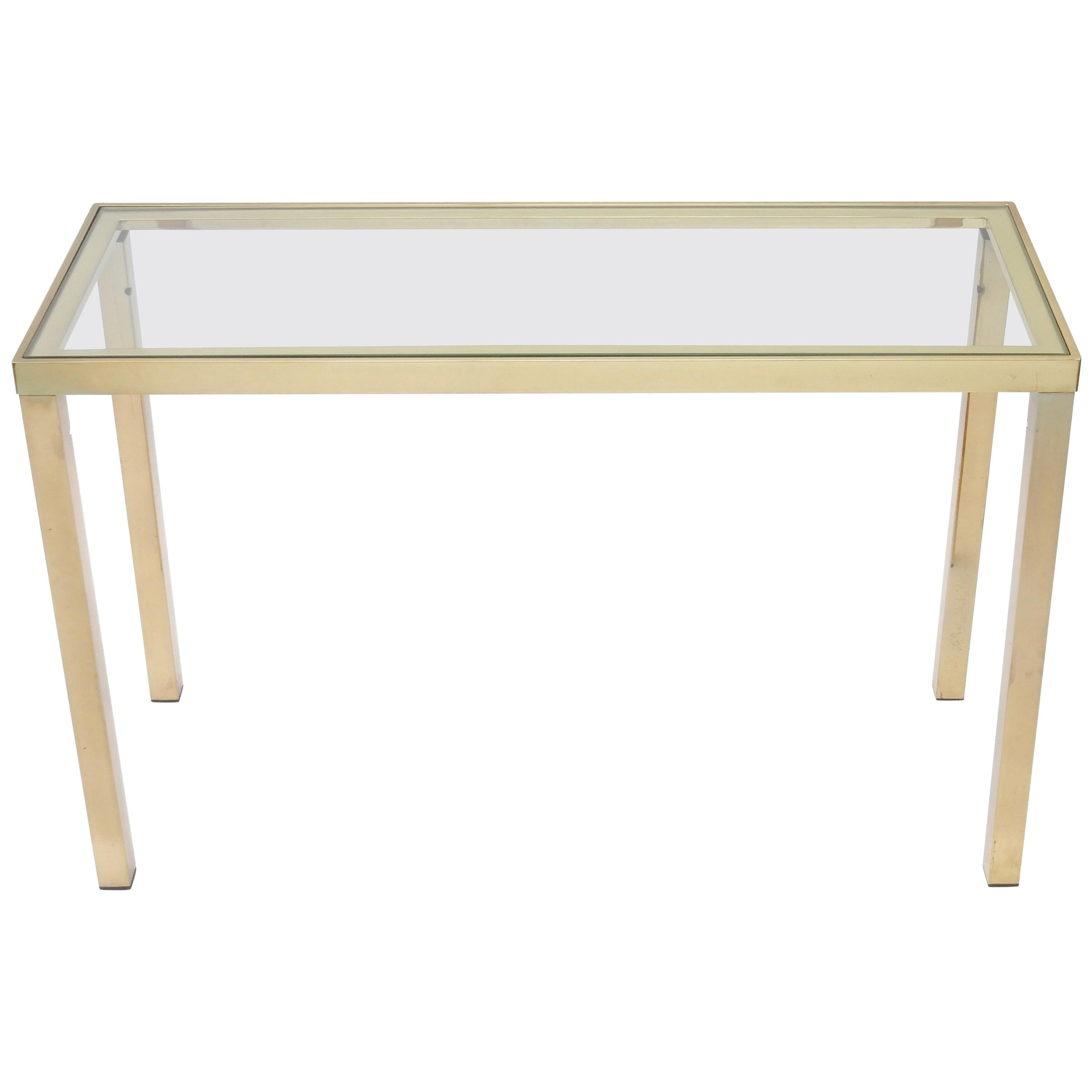 French Brass Console Table with Glass Top, 1970s