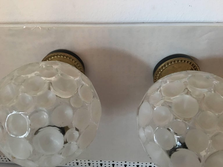 French Brass Crater Textured Glass Shade Sconces In Good Condition For Sale In Frisco, TX