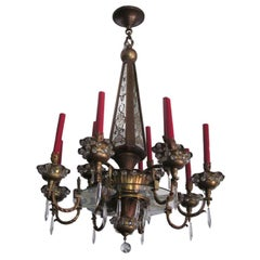French Brass, Crystal and Mirror Chandelier by Maison Baguès, Paris, 1925