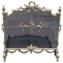 French Brass Decorative Foliage and Urn Finial Fireplace Screen, Circa 1830