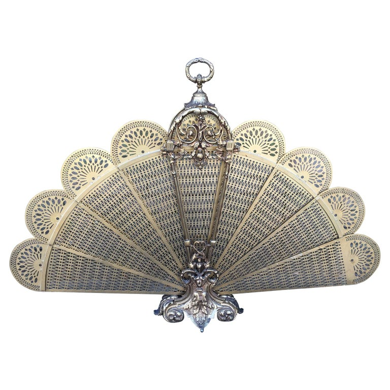 French Brass Decorative Pierced Folding Fire Place Fan Screen, 19th Century For Sale
