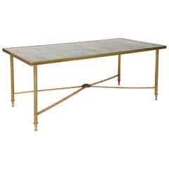French Brass Directoire Style Coffee Table with Mirrored Top