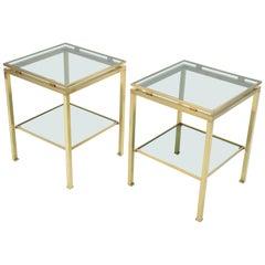 French Brass end tables Guy Lefevre for Maison Jansen, 1970s