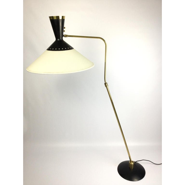 20th Century French Brass Flexible and Extendable Floor Lamp by Maison Arlus, 1950s For Sale