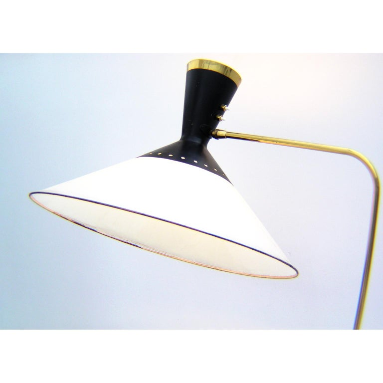 French Brass Flexible and Extendable Floor Lamp by Maison Arlus, 1950s For Sale 2