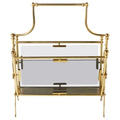 French Brass and Glass Magazine Rack, circa 1940