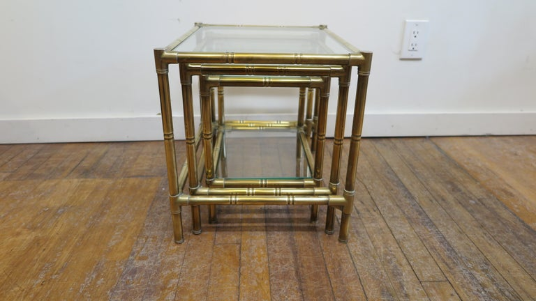 French Brass and Glass Nesting Tables For Sale 6