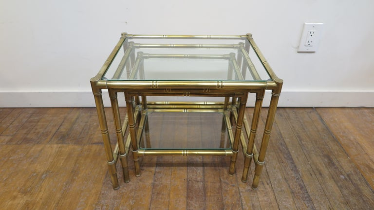 French Brass and Glass Nesting Tables For Sale 7