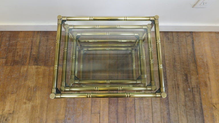 French Brass and Glass Nesting Tables For Sale 8