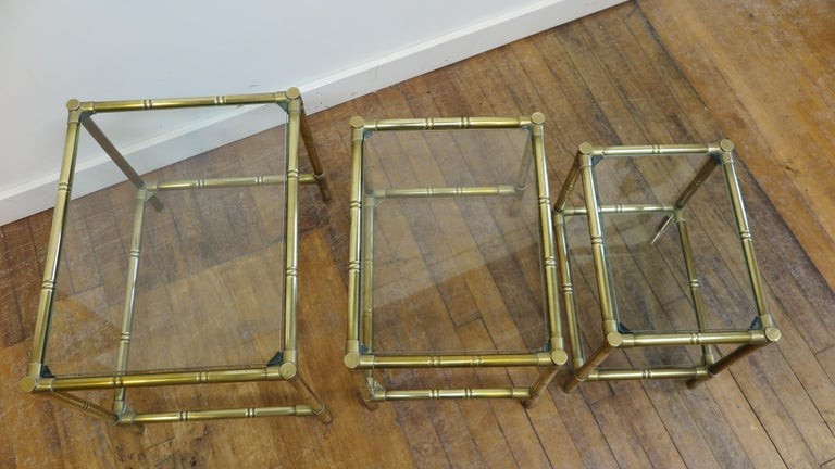 Mid-Century Modern French Brass and Glass Nesting Tables For Sale