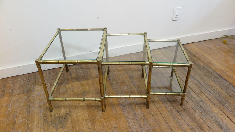 French Brass and Glass Nesting Tables In Good Condition For Sale In New York, NY