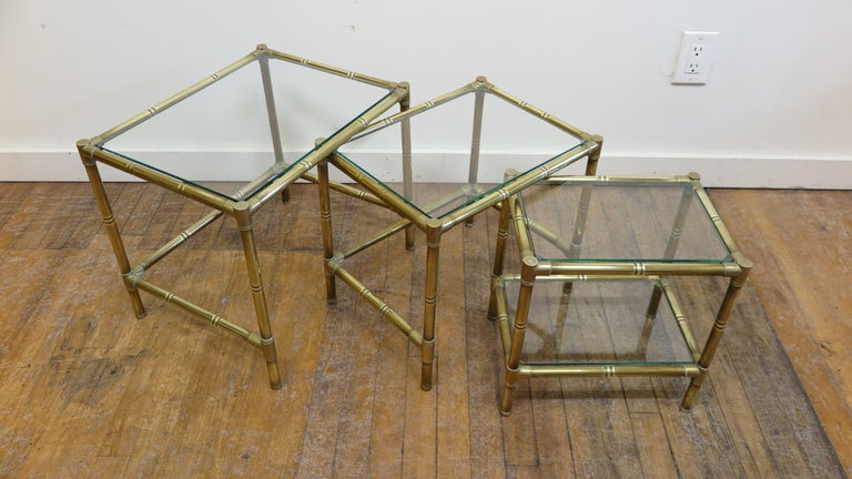Mid-20th Century French Brass and Glass Nesting Tables For Sale