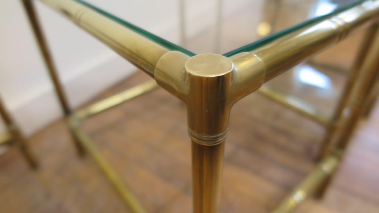 French Brass and Glass Nesting Tables For Sale 2