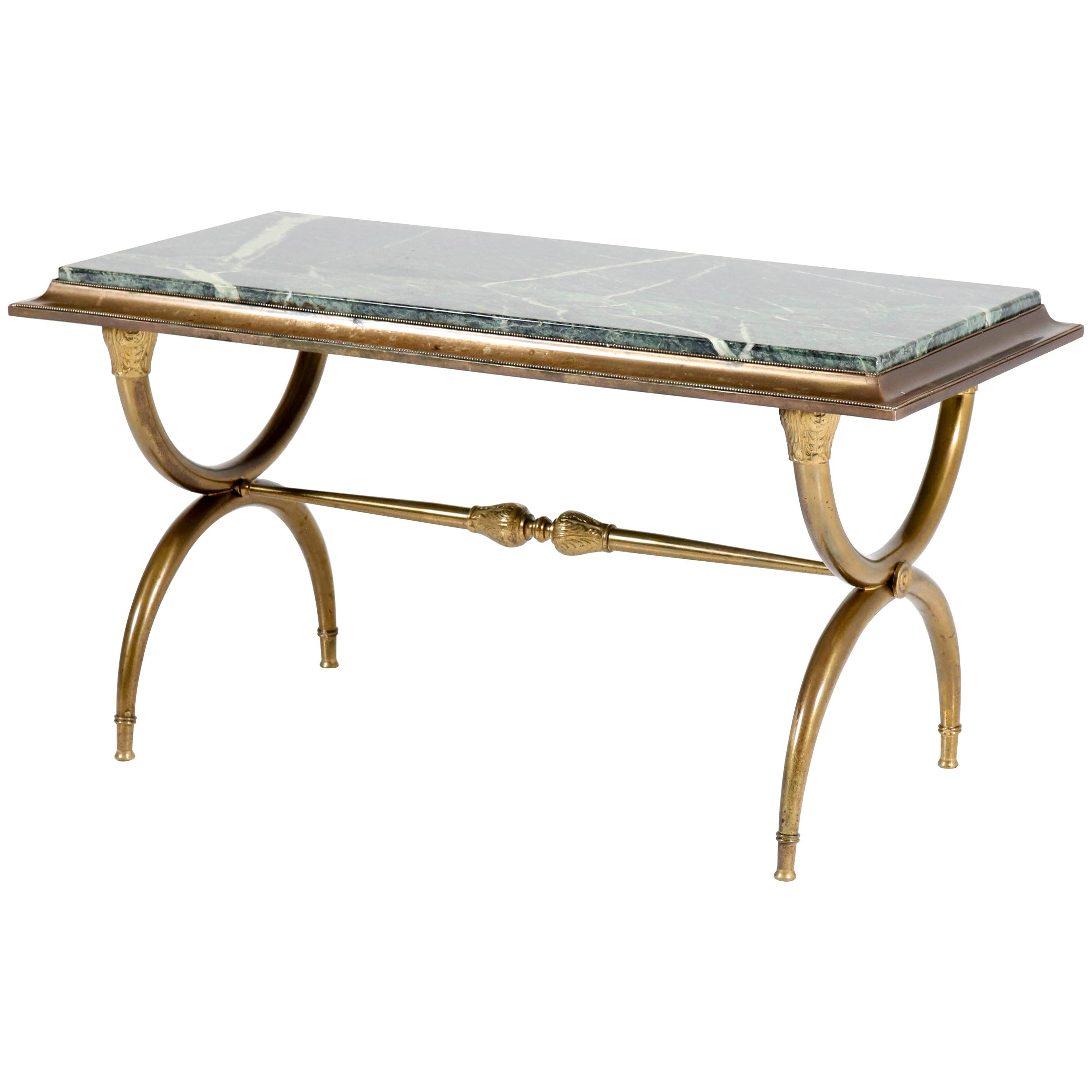 French Brass Hollywood Regency Maison Baguès Style Coffee Table, 1940s