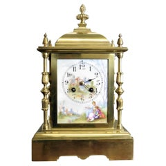 French Brass Mantel Clock With Painted Enamel Dial