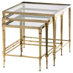 French Brass & Mirrored Glass Nesting Tables Attributed to Maison Baguès, c 1960