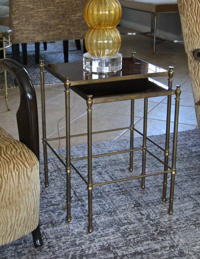 French Brass Mirrored Tops Nesting or Side Tables For Sale 7