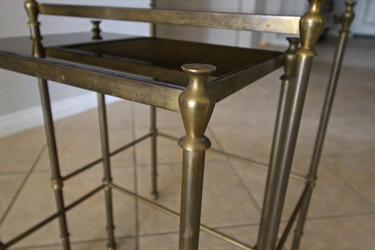 French Brass Mirrored Tops Nesting or Side Tables For Sale 8