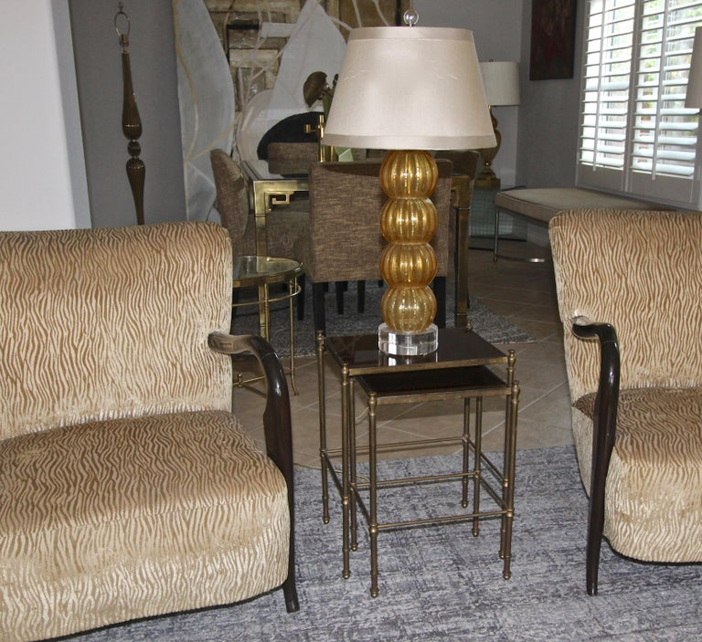 French Brass Mirrored Tops Nesting or Side Tables For Sale 9