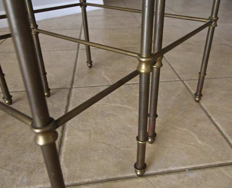 French Brass Mirrored Tops Nesting or Side Tables For Sale 10