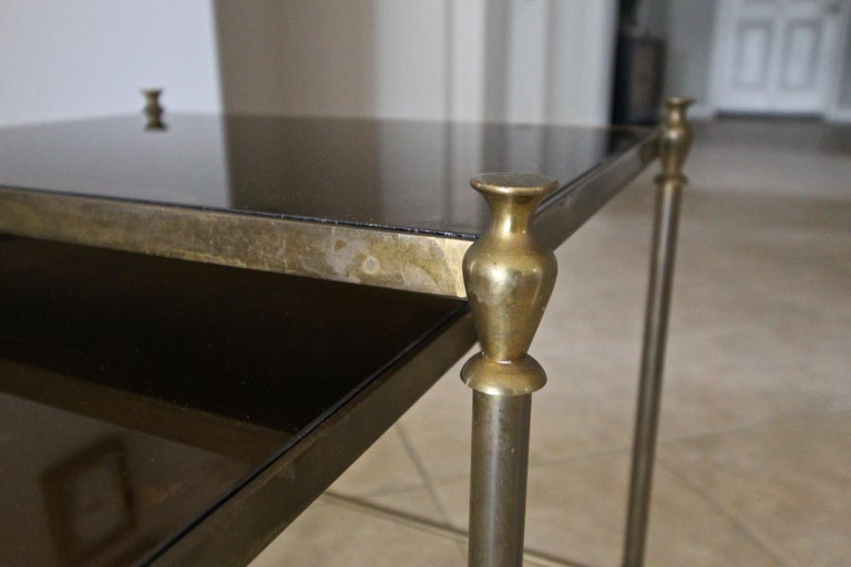 French Brass Mirrored Tops Nesting or Side Tables For Sale 11