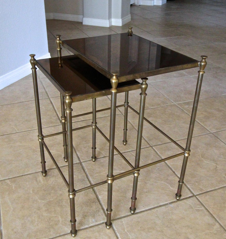 French Brass Mirrored Tops Nesting or Side Tables For Sale 13