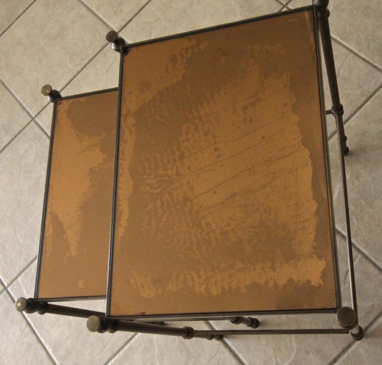 French Brass Mirrored Tops Nesting or Side Tables For Sale 14