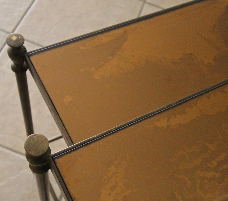 French Brass Mirrored Tops Nesting or Side Tables For Sale 15