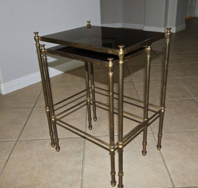French Brass Mirrored Tops Nesting or Side Tables For Sale 1