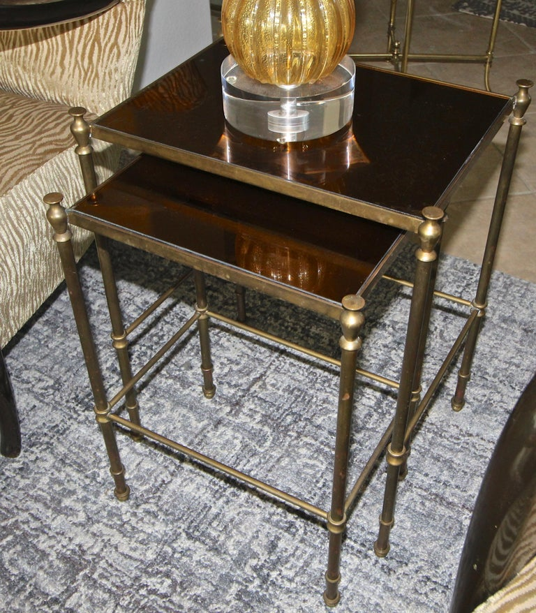 French Brass Mirrored Tops Nesting or Side Tables For Sale 2