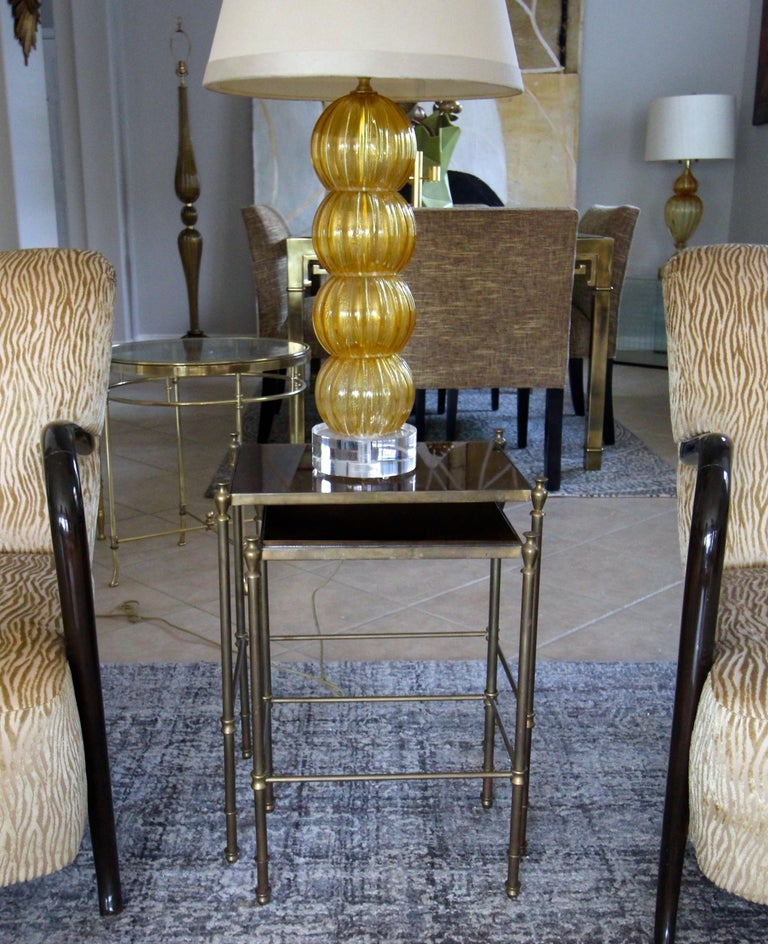 French Brass Mirrored Tops Nesting or Side Tables For Sale 4
